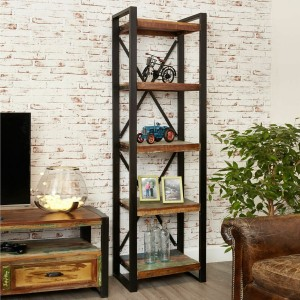 Aspen Reclaimed Wood Industrial tall thin Bookshelf Book case