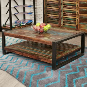 Aspen Reclaimed Wood Industrial 1 shelf slatted Coffee Table