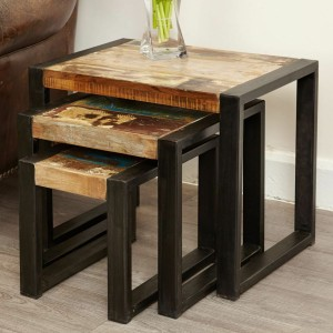 Aspen Reclaimed Wood Industrial set of 3 nested Side Tables