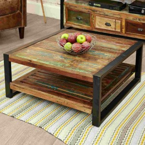 Aspen Reclaimed Wood Industrial 1 shelf Square Coffee Table