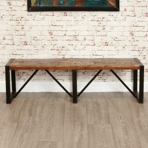 Aspen Reclaimed Wood Industrial Dining Bench Seat 160cm