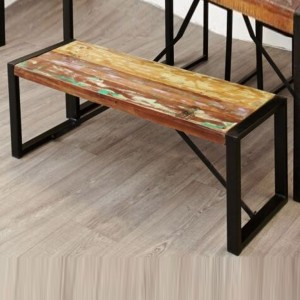 Aspen Reclaimed Wood Industrial Dining Bench Seat 110cm