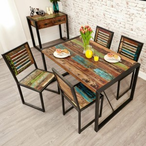 Aspen Reclaimed Wood Industrial Small Dining Table 140cm