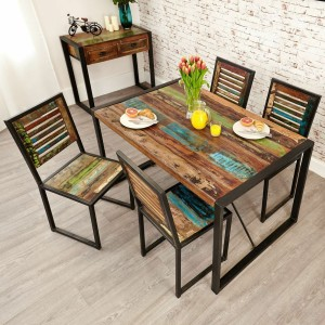 Aspen Reclaimed Wood Industrial 4 seater Dining Setting 140cm