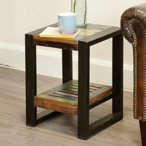 Aspen Reclaimed Wood Industrial 1 shelf Side Table Lamp Stand