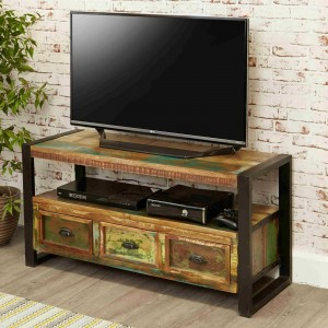 Aspen Reclaimed Wood Industrial TV Entertainment unit 3 drawer