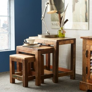 Aspen Colonial Reclaimed Wood Industrial set of 3 nested tables