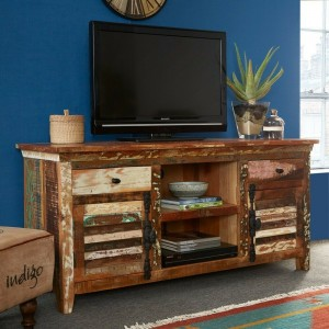Aspen Colonial Reclaimed Wood Industrial TV Entertainment unit