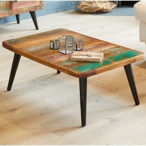Aspen Scandi Reclaimed Wood Industrial Rectangle Coffee Table