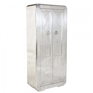 Aviator Aluminium Aviation rivet detail tall cabinet with 3 shelves 80x45x180cm