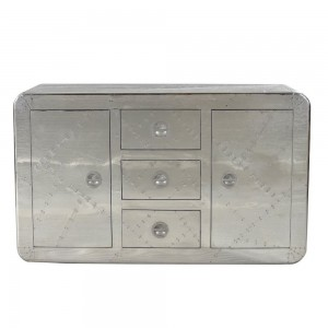 Aviator Aluminium Aviation rivet detail sideboard buffet Large 150x45x90cm