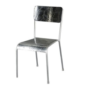 Aviator Aluminium Aviation rivet detail dining chair single metal seat 45x45x90cm