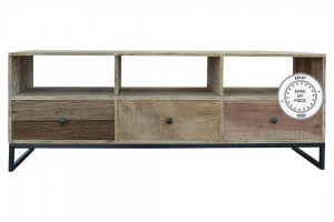 Industrial Dark Wood TV Unit With Drawers Metal Legs