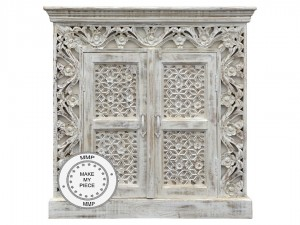 Mandala Indian Hand Carved Small Cabinet  White