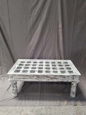 Indian Antique Tribal Hand Carved Art Wooden Console Table Side Table 110x60x46cm