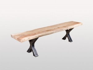 Industrial Live Edge Metal Base X Bench Docks Natural