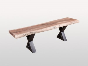 Industrial Live Edge Metal Base X Bench Natural