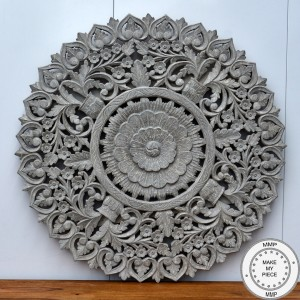 Dynasty Hand Carved Indian Wooden Round Wall Decorative Carved Panel Grey