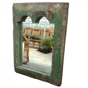 Indian Antique Wall Mirror Frame Green 30 x 40cm