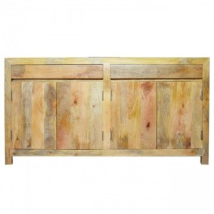 Boston Klean Contemporary Solid Mango Wood Large Sideboard Buffet Bleach