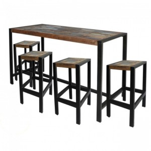 French Reclaimed Industrial Bar Setting with 4 stools 1.6m