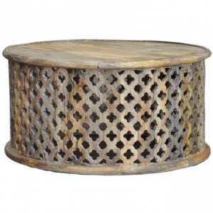 Bristol Floral Round Coffee Table Natural 80cm