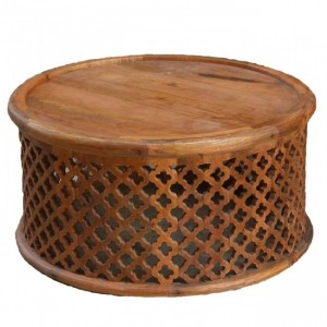Bristol Floral Round Coffee Table Honey 80cm