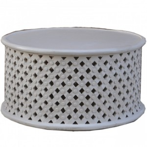 Bristol Carved Round Coffee Table White 80cm