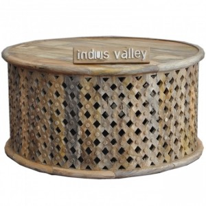 Bristol Carved Round Coffee Table Natural 80cm