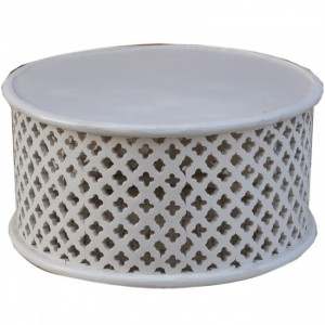 Bristol Floral Low Line Round Coffee Table White 80cm