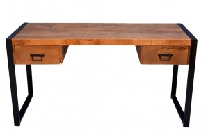Industrial desk in metal and wood with 2 drawers