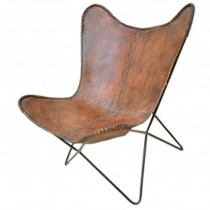 Aged Leather Metal Round Butterfly Chair
