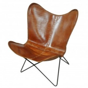 Aged Leather Iron Butterfly Chair