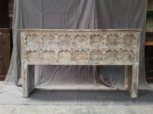 Indian Antique Tribal Hand Carved Art Wooden Console Old Door Table Whitewash 155x37x90cm