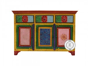 Pandora Hand Painted Indian Buffet Sideboard With 3 Drawers