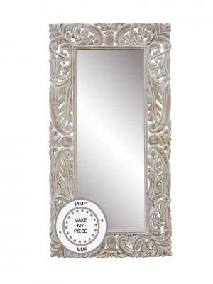 Hand Carved Mirror In a Carved Frame WHITE  60X120