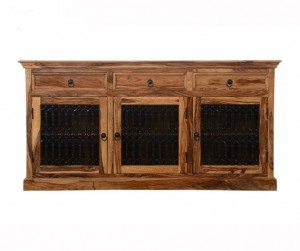 Indian Wooden Buffet Cabinet Sideboard With Jali Doors & Drawers Natural
