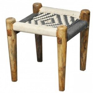 Indian Solid Wood Charpai Khat Manjhi Woven Charpoy Ottoman Stool Black White