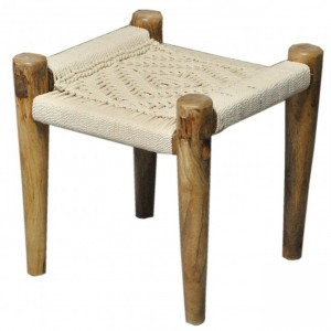 Indian Solid Wood Charpai Khat Manjhi Woven Charpoy Ottoman Stool White