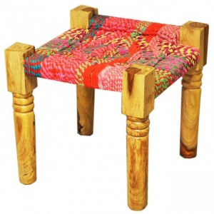 Indian Solid Wood Manjhi Woven Charpoy Ottoman Stool Multi Colour