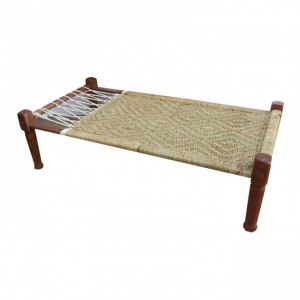 Indian Solid Wood Charpai Khat Manjhi Woven Charpoy Daybed Brown Jute XL
