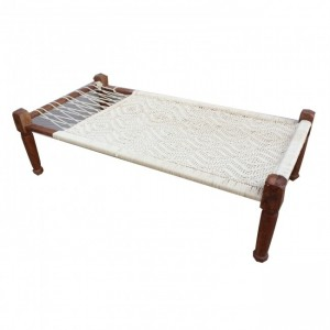 Indian Manjhi Woven Charpai Daybed White XL