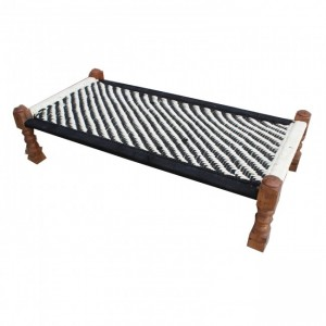 Indian Solid Wood Charpai Khat Manjhi Woven Charpoy Daybed Black & White
