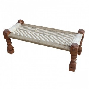 Indian Solid Wood Charpai Bench Khat Manjhi Woven Charpoy Daybed Brown White