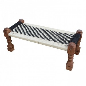 Indian Solid Wood Charpai Bench Khat Manjhi Woven Charpoy Daybed White Black
