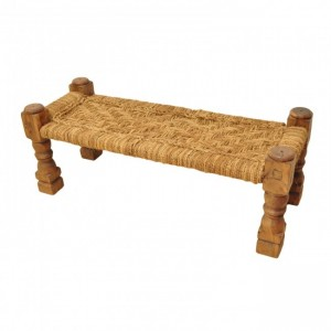 Indian Solid Wood Charpai Bench Khat Manjhi Woven Charpoy Daybed Jute Brown