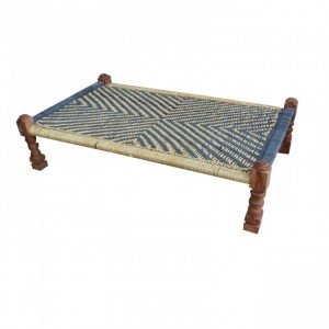 Indian Manjhi Woven Charpai Daybed Brown & Blue L