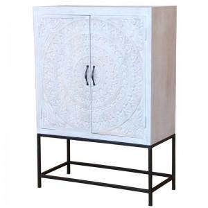 Mandala Hand Carved Chennai Tall Cabinet 42x90x130cm