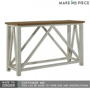 Contemporary Solid wood Hall Side Table White Natural Top