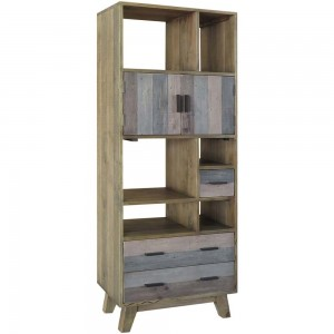 Corso Italy Mango Wood Grey Modern Bookcase Display Book Shelf 70x40x185cm